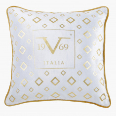 19V69 Embroidered Filled Cushion - 45x45 cms