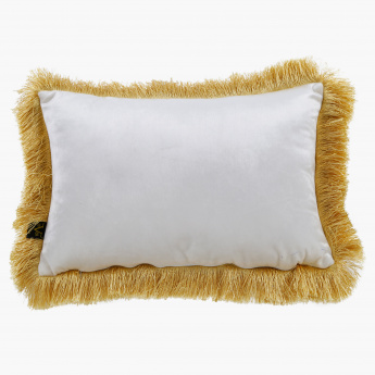 19V69 Embroidered Cushion with Fringes - 35x50 cms