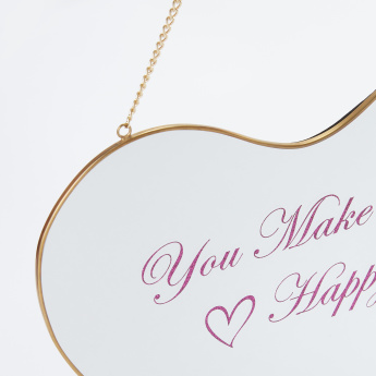 Printed Heart Shaped Hanging Mirror