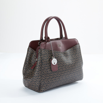 Guess Printed Handbag with Magnetic Snap Closure and Charm Detail