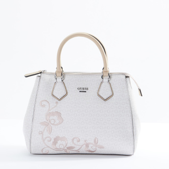 Guess Embroidered Tote Bag with Zip Closure