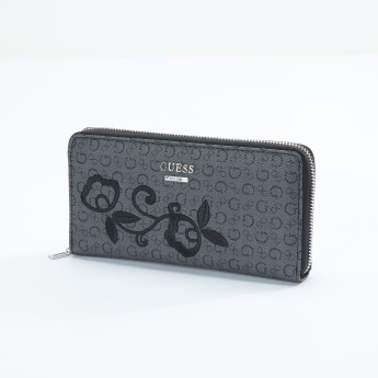 Guess Embroidered Wallet with Zip Closure