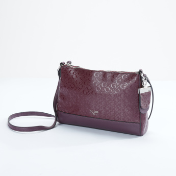 Guess Textured Crossbody Bag with Zip Closure
