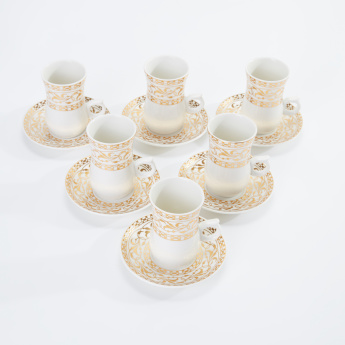 Printed Turkish Coffee Cup and Saucer - Set of 6
