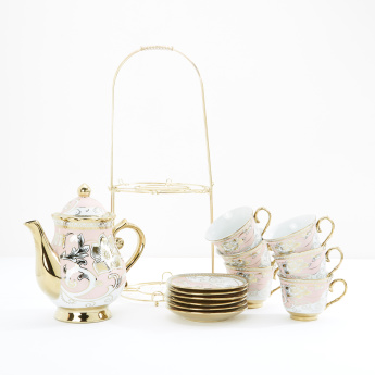 Printed 13-Piece Tea Set with Stand