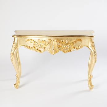 Metallic Console Table with Floral Motifs