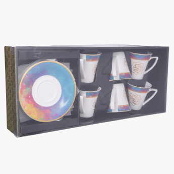 Elite d'Art Printed 12-Piece Cup and Saucer Set