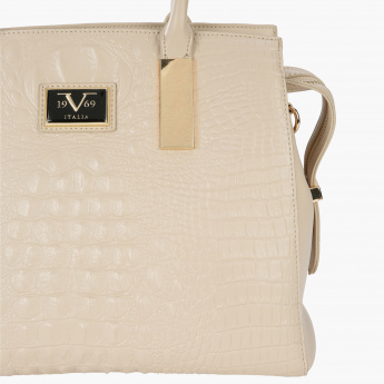 19V69 Textured Tote Bag with Zip Closure