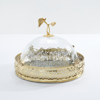 Metallic Cake Tray with Dome Lid