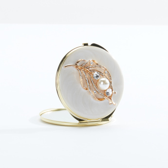 Studded Round Compact Mirror