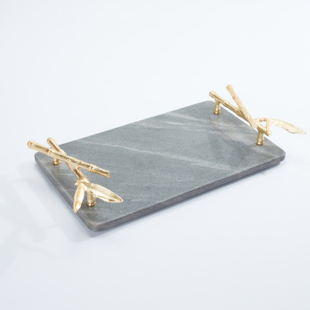 Rectangular Tray with Metallic Handles - Large