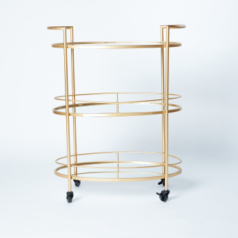Metallic 3-Tier Oval Cart