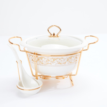 Decorative Round Casserole with Candle Stand