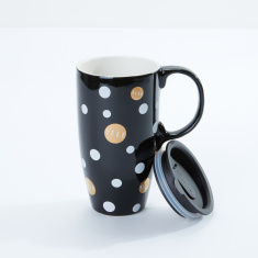 Elle Latte Polka Dot Printed Travel Mug with Lid