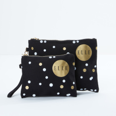 Elle Polka Dot Printed 2-Piece Cosmetic Bag Set