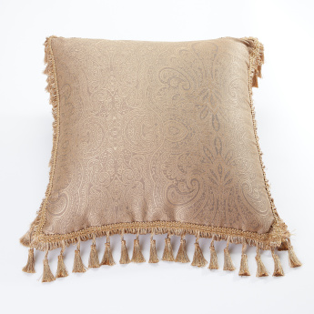 Printed Square Cushion with Tassels - 45x45 cms