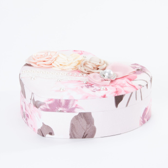 Printed Trinket Box with Flower Applique and Pearl Detail