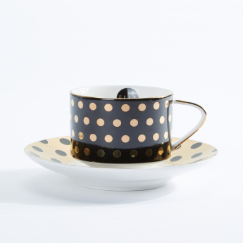 Elle Decor Polka Dots Printed Cup and Saucer
