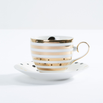 Stripes and Polka Dots Cup and Saucer Set