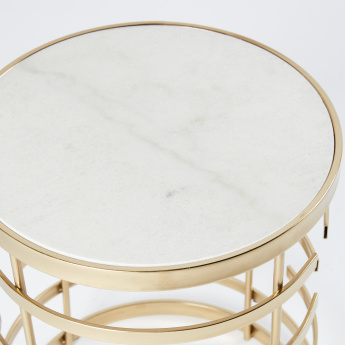 Round Metallic End Table