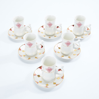 Printed Printed Cup and Saucer - Set of 6