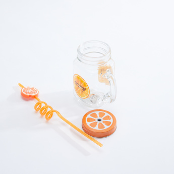 Neo Tropicana Printed Mason Jar with Lid and Straw - 450 ml