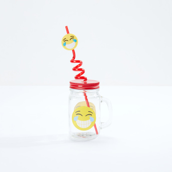 Neo Tropicana Emoji Printed Jar with Lid and Straw - 450 ml