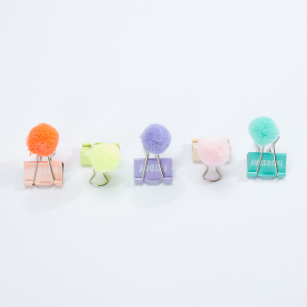 Syloon Binder Clip with Pom-Pom Detail - Set of 5