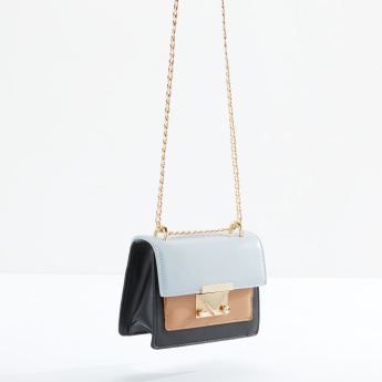 Charlotte Reid Satchel Bag with Metallic Chain
