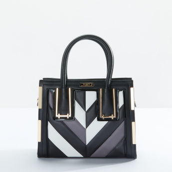 Charlotte Reid Colour Blocking Detail Hand Bag with Zip Closure