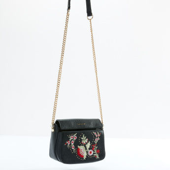 Charlotte Reid Embroidered Satchel Bag with Magnetic Snap Closure