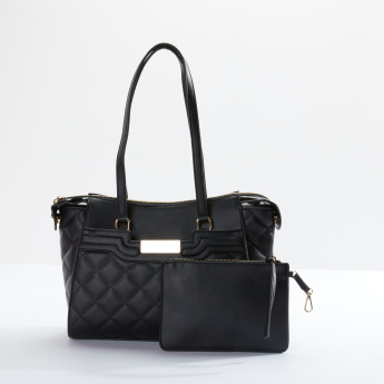 Charlotte Reid Quilted Tote Bag with Pouch and Zip Closure