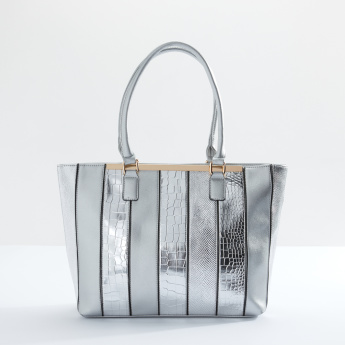Sasha Textured Shopper Bag with Zip Closure
