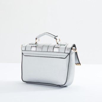 Sasha Textured Satchel Bag with Magnetic Snap Closure