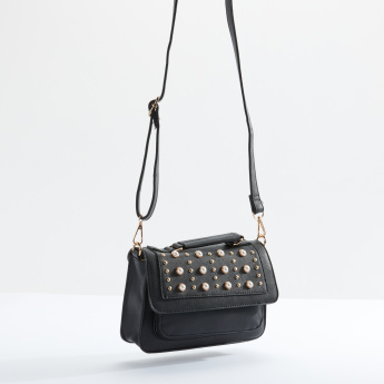 Sasha Pearl Detail Satchel Bag with Magnetic Snap Closure