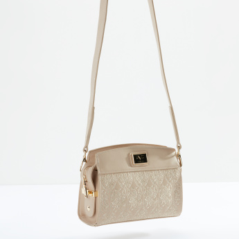 19V69 Embroidered Crossbody Bag with Zip Closure