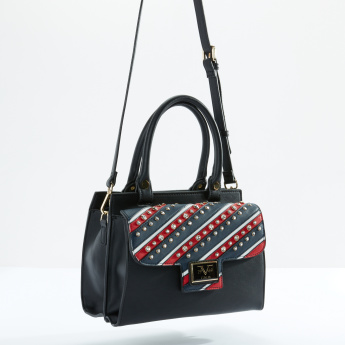 19V69 Studded Handbag with Zip Closure and Long Strap