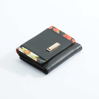 Charlotte Reid Printed Wallet with Flap and Magnetic Snap Closure
