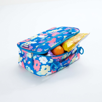 J World Printed Lunch Bag with Zip Closure and Adjustable Strap