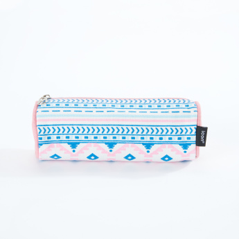 icon Printed Round Pencil Case with Zip Closure
