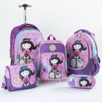 Clo Clo Printed Trolley Backpack with Zip Closure