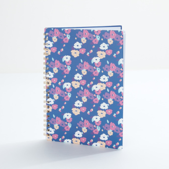 J World Floral Printed Spiral Bound Notebook - A4