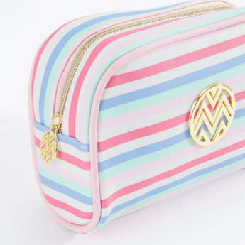 Macbeth Striped Cosmetics Pouch with Zip Closure