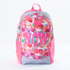 Ne.On Printed Backpack with Zip Closure and Adjustable Straps
