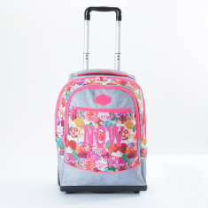 Ne.On Printed Trolley Backpack with Zip Closure