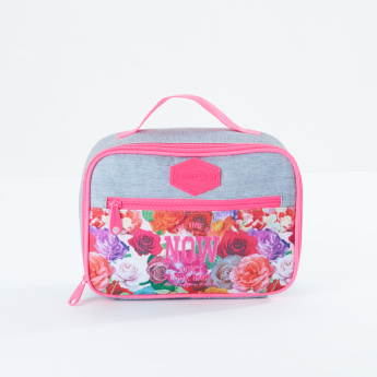 Street Flower Printed Lunch Bag with Zip Closure