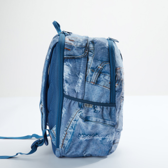 Ne.On Denim Backpack with Zip Closure and Adjustable Straps