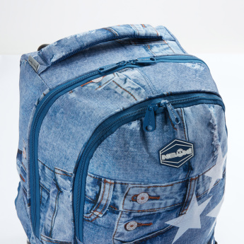 Ne.On Denim Trolley Backpack with Zip Closure