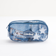 Ne.On Printed Denim Pencil Case with Zip Closure