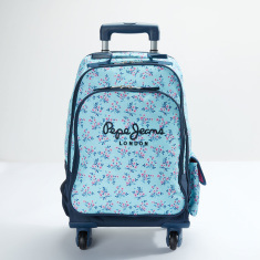 Pepe Jeans Printed Trolley Backpack with Zip Closure